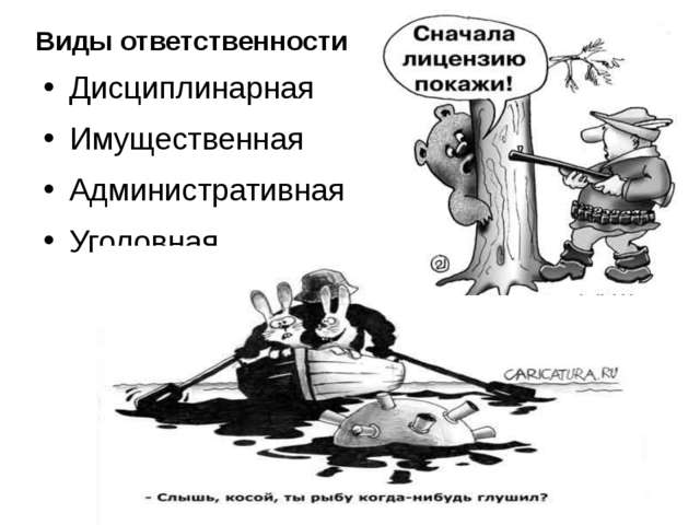 Дисциплинарная Имущественная Административная Уголовная Виды ответственности...