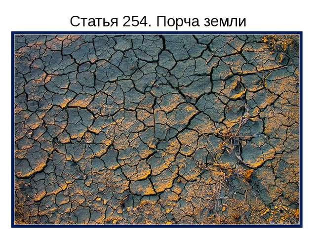 Статья 254. Порча земли Отравление, загрязнение или иная порча земли вредными...