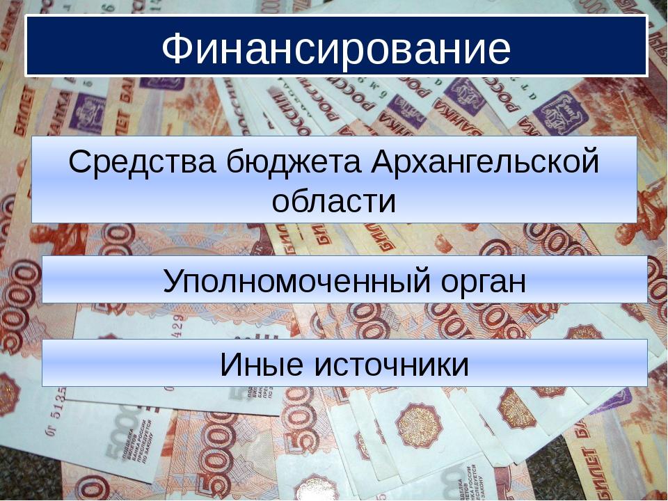 Финансирование Финансирование Средства бюджета Архангельской области Уполномо...