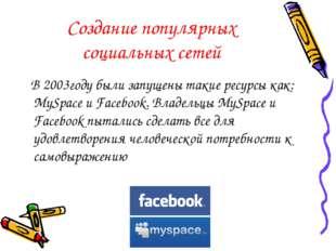 Создание популярных социальных сетей В 2003году были запущены такие ресурсы к