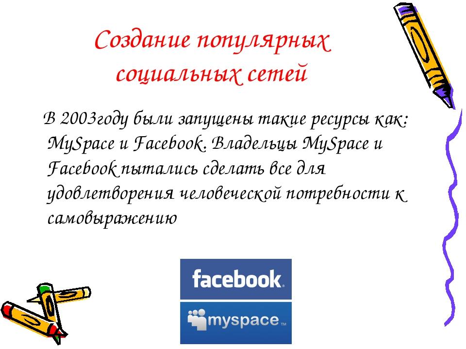 Создание популярных социальных сетей В 2003году были запущены такие ресурсы к...