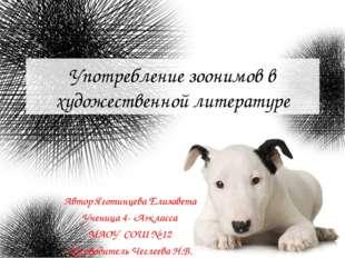 Употребление зоонимов в художественной литературе Автор Яготинцева Елизавета