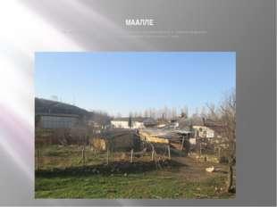МААЛЛЕ На месте нынешнего холодильника было селение с названием Маалле (с кры