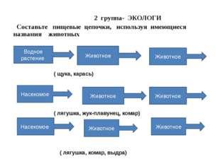 2 группа- ЭКОЛОГИ Составьте пищевые цепочки, используя имеющиеся названия жи