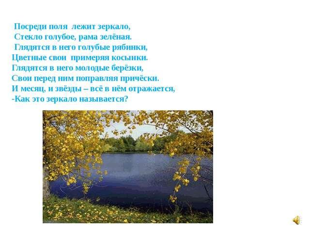 Посреди поля лежит зеркало, Стекло голубое, рама зелёная. Глядятся в него го...