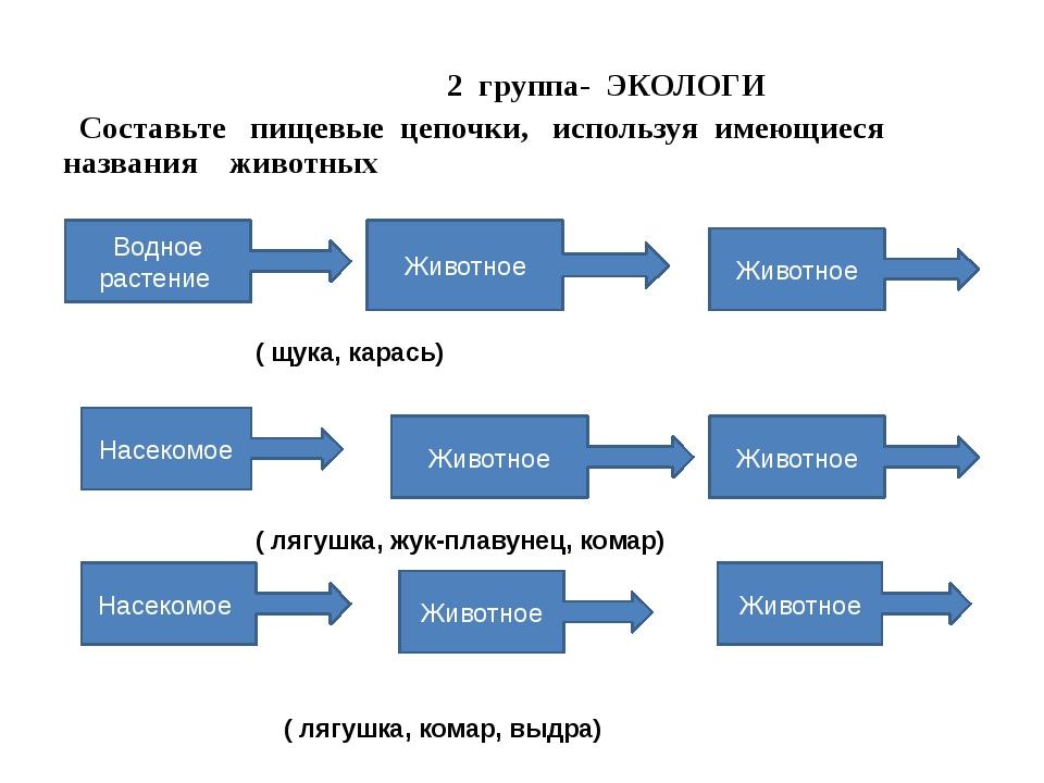 2 группа- ЭКОЛОГИ Составьте пищевые цепочки, используя имеющиеся названия жи...