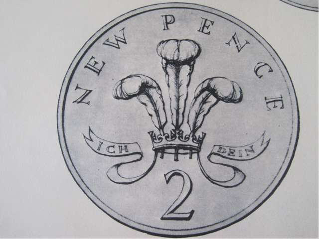 The new 2 pence coin The Prince of Wales was the source of the motif of the f...