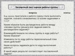 Экспертный лист оценки работы группы вопросыответы Как группа приступила к р