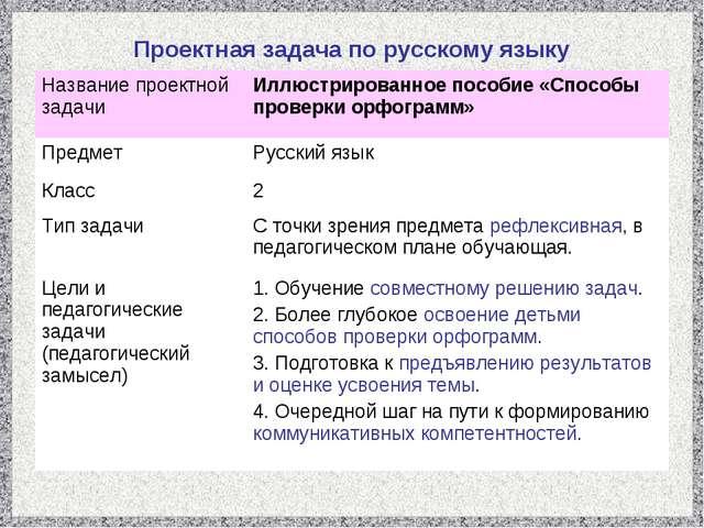 Проектная задача по русскому языку Название проектной задачиИллюстрированное...