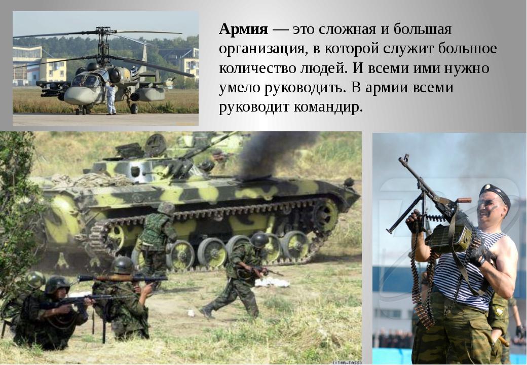 Армия — это сложная и большая организация, в которой служит большое количеств...