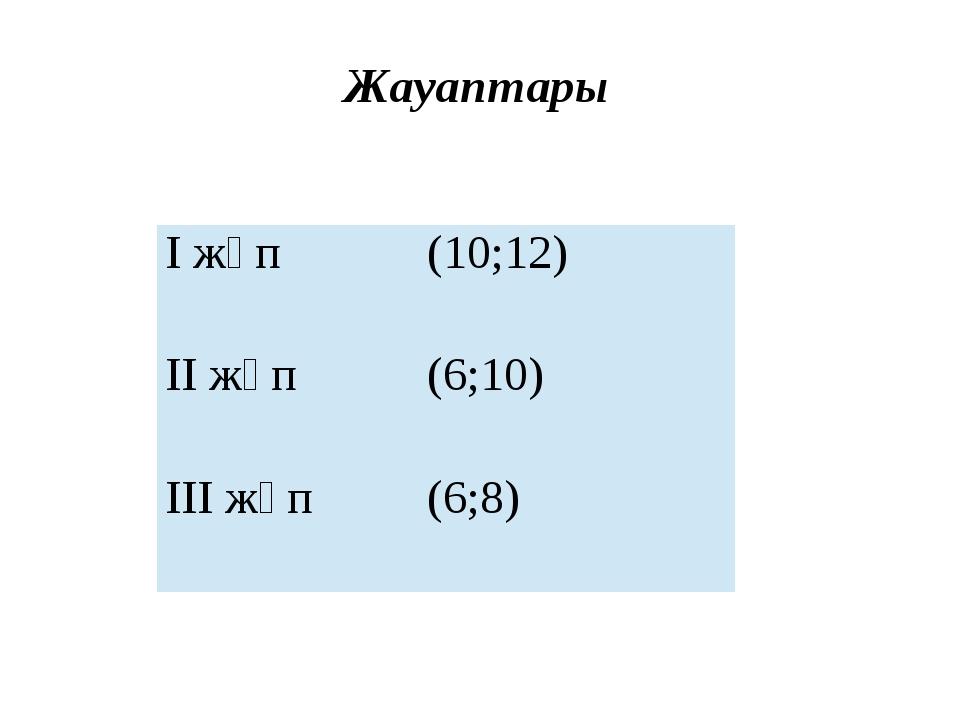 Жауаптары І жұп (10;12) ІІ жұп (6;10) ІІІ жұп (6;8)