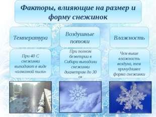 Факторы, влияющие на размер и форму снежинок Температура Воздушные потоки Вла