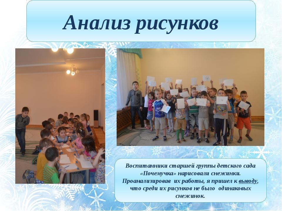 Анализ рисунков Воспитанники старшей группы детского сада «Почемучка» нарисов...