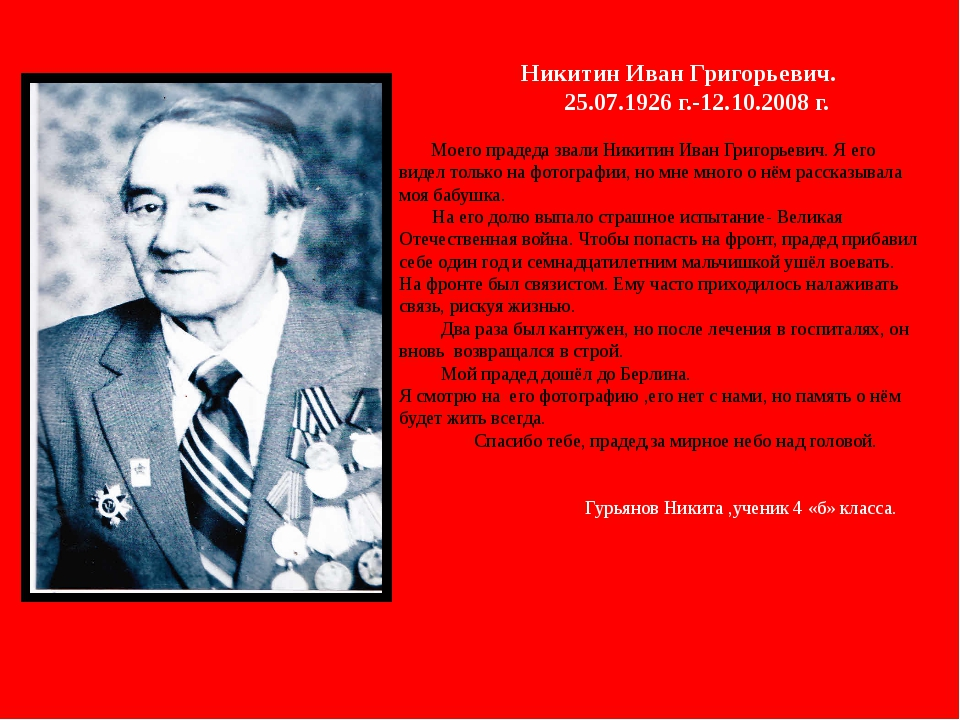 Никитин Иван Григорьевич. 25.07.1926 г.-12.10.2008 г. Моего прадеда звали Ни...