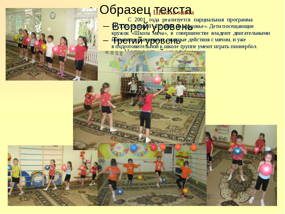 Школа мяча С 2001 года реализуется парциальная программа  М.Л.Волошиной «...