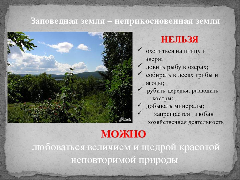 Заповедная земля – неприкосновенная земля НЕЛЬЗЯ охотиться на птицу и зверя;...
