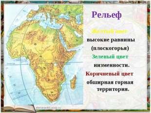 Рельеф Желтый цвет высокие равнины (плоскогорья) Зеленый цвет низменности. К