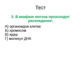 Тест 3. В анафазе митоза происходит расхождение: А) органоидов клетки Б) хром