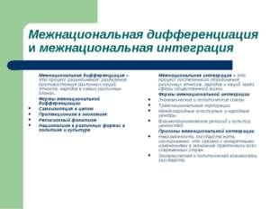 Межнациональная дифференциация и межнациональная интеграция Межнациональная