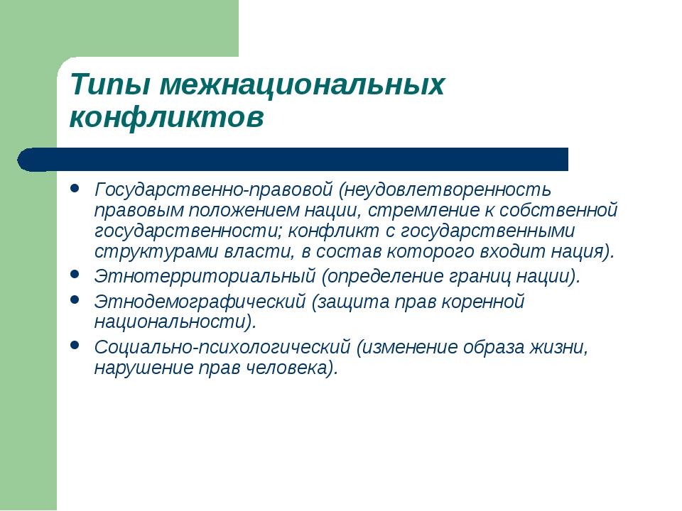 Типы межнациональных конфликтов Государственно-правовой (неудовлетворенность...