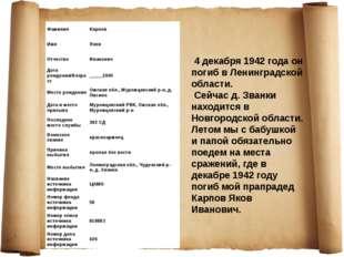 4 декабря 1942 года он погиб в Ленинградской области. Сейчас д. Званки наход