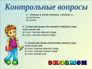 2. Согласная буква обозначает твёрдый звук, если после неё … а) стоит гласная