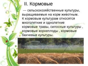 II. Кормовые — сельскохозяйственные культуры, выращиваемые накормживотным.