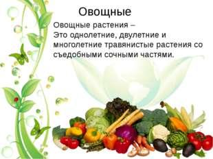 Овощные Овощные растения – Это однолетние, двулетние и многолетние травянисты
