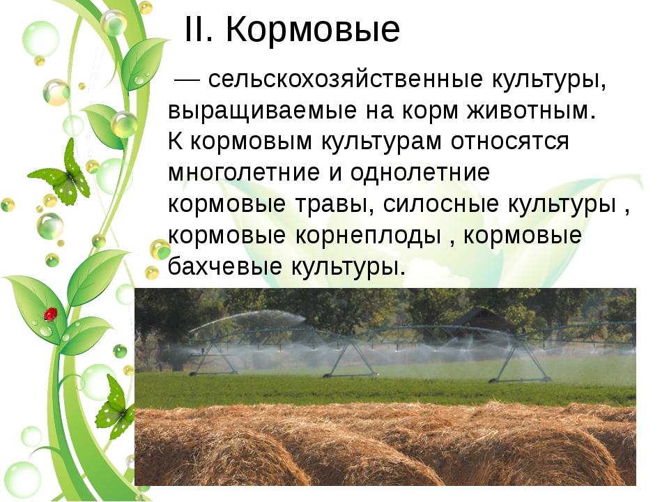 II. Кормовые — сельскохозяйственные культуры, выращиваемые накормживотным....