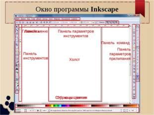 Окно программы Inkscape Главное меню Панель команд Линейки Холст Панель парам