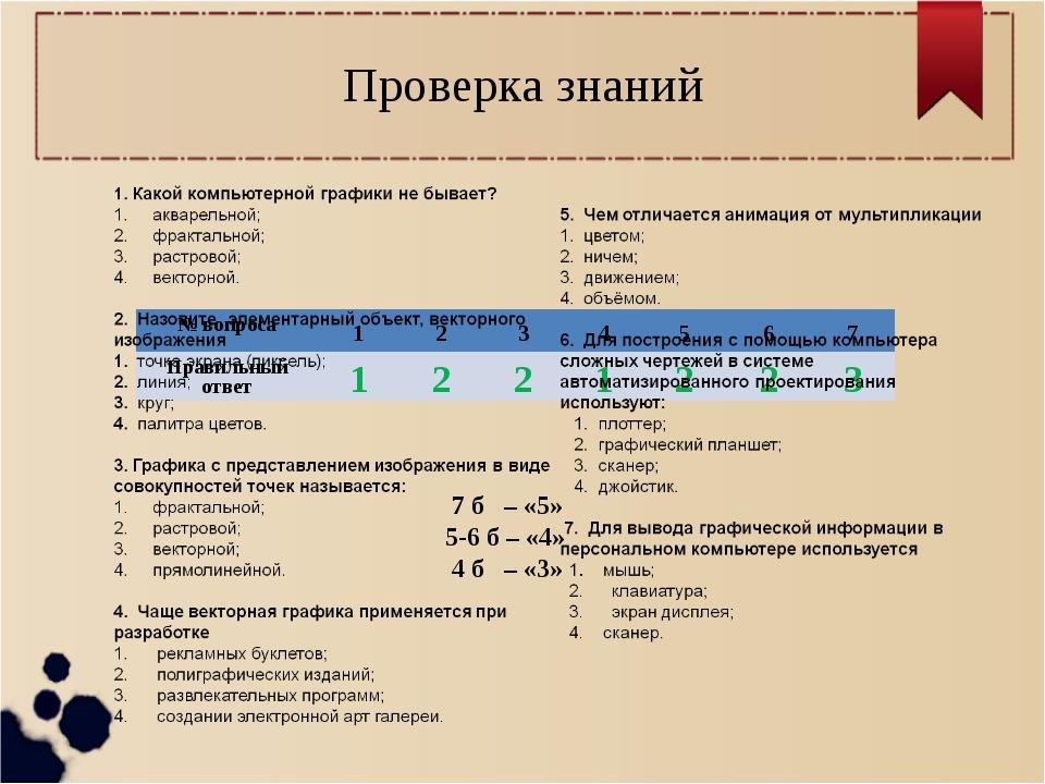 Проверка знаний 7 б – «5» 5-6 б – «4» 4 б – «3» № вопроса1234567 Прави...