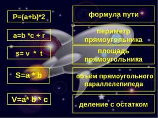формула пути P=(a+b)*2 s= v * t a=b *c + r периметр прямоугольника площадь пр