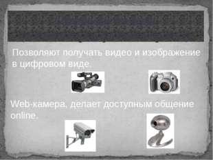 Цифровые камеры (видеокамеры, фотоаппараты) Позволяют получать видео и изобра