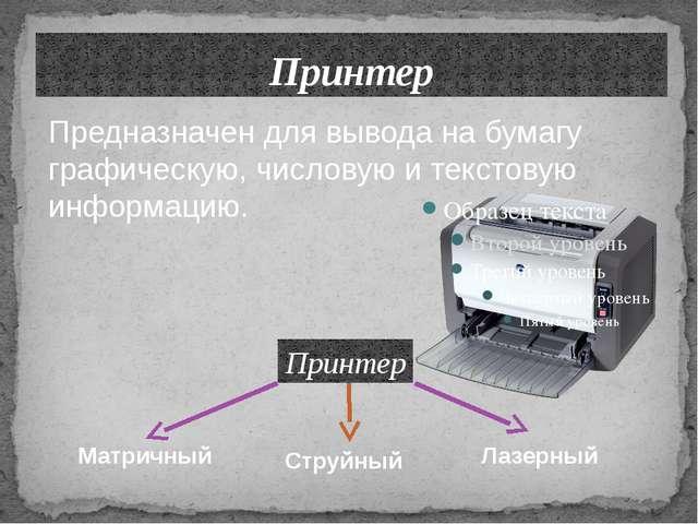 Принтер Лазерный Струйный Предназначен для вывода на бумагу графическую, числ...
