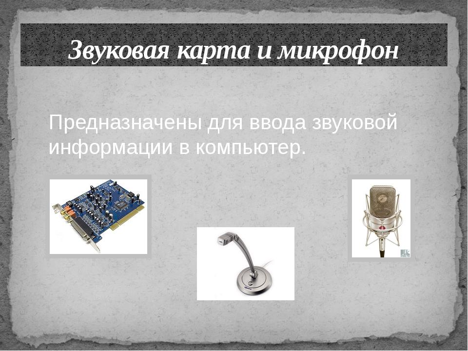 Звуковая карта и микрофон Предназначены для ввода звуковой информации в компь...