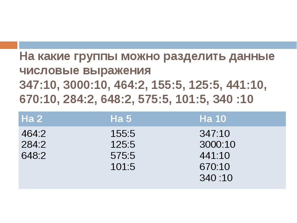 На какие группы можно разделить данные числовые выражения 347:10, 3000:10, 46...