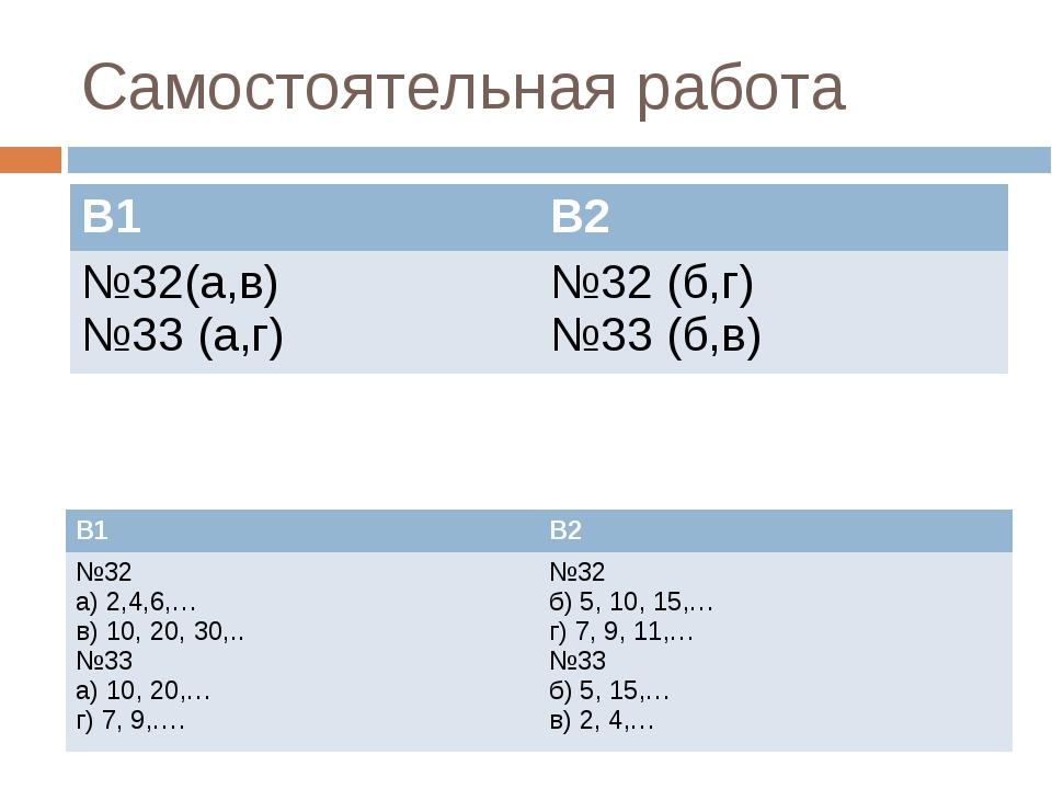 Самостоятельная работа В1 В2 №32(а,в) №33 (а,г)№32 (б,г) №33 (б,в) В1 В2 №...