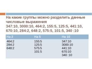 На какие группы можно разделить данные числовые выражения 347:10, 3000:10, 46