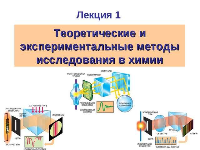 Лекция 1 Теоретические и экспериментальные методы исследования в химии