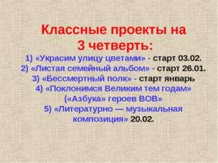 Классные проекты на 3 четверть: 1) «Украсим улицу цветами» - старт 03.02. 2)