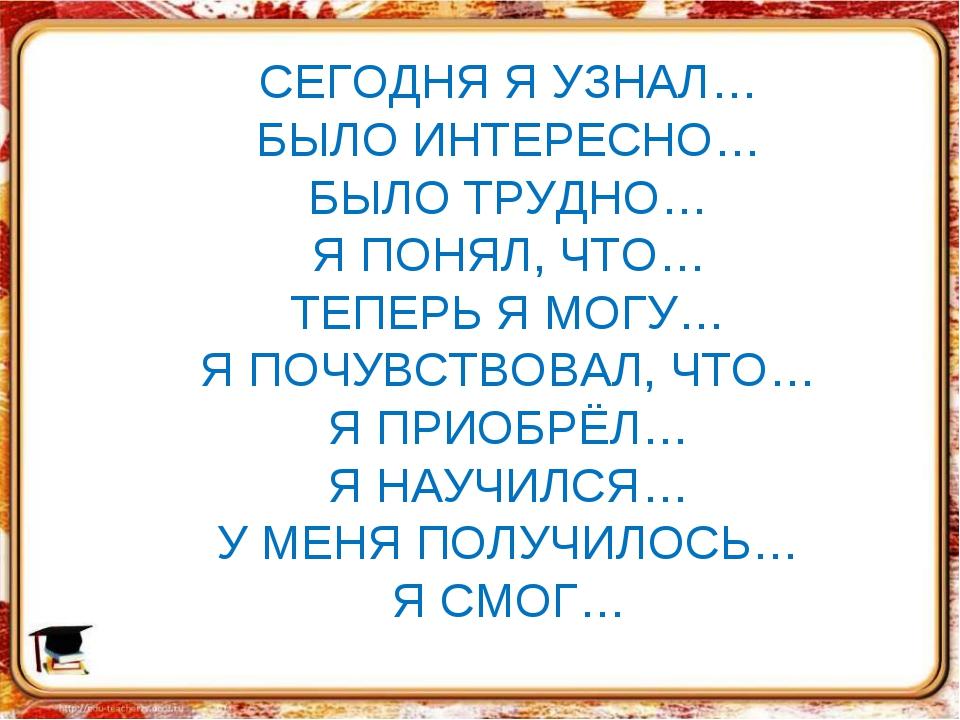 СЕГОДНЯ Я УЗНАЛ… БЫЛО ИНТЕРЕСНО… БЫЛО ТРУДНО… Я ПОНЯЛ, ЧТО… ТЕПЕРЬ Я МОГУ… Я...