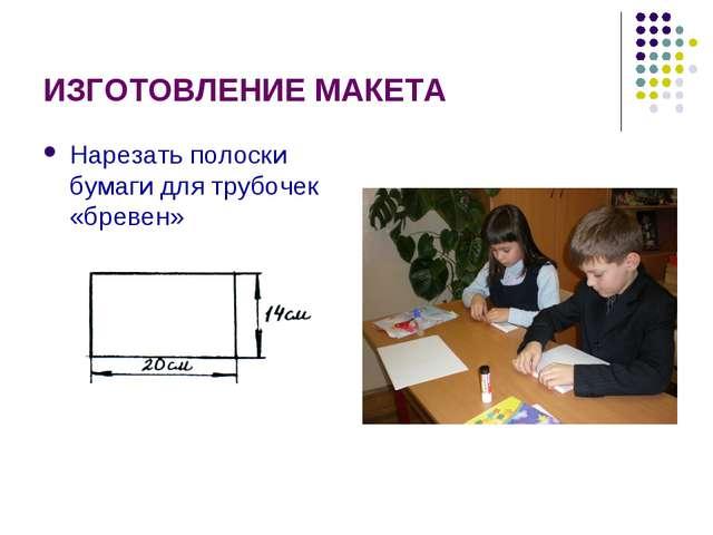 ИЗГОТОВЛЕНИЕ МАКЕТА Нарезать полоски бумаги для трубочек «бревен»