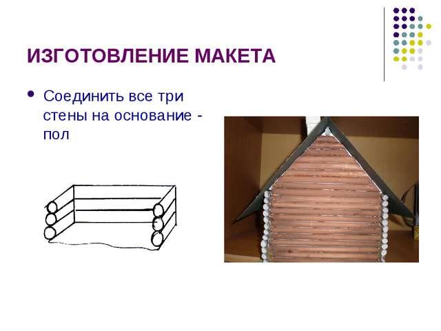 ИЗГОТОВЛЕНИЕ МАКЕТА Соединить все три стены на основание - пол