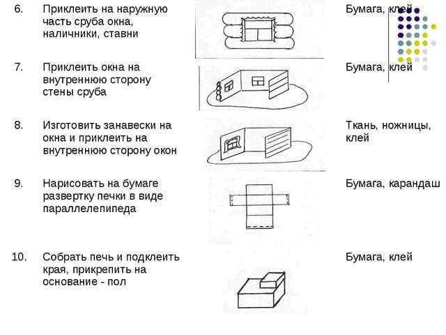 6.Приклеить на наружную часть сруба окна, наличники, ставни Бумага, клей 7...