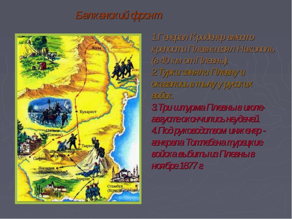 Балканский фронт Генерал Криденер вместо крепости Плевна взял Никополь (в 40...