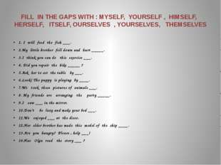 FILL  IN THE GAPS WITH : MYSELF,  YOURSELF ,  HIMSELF,   HERSELF,   ITSELF, O