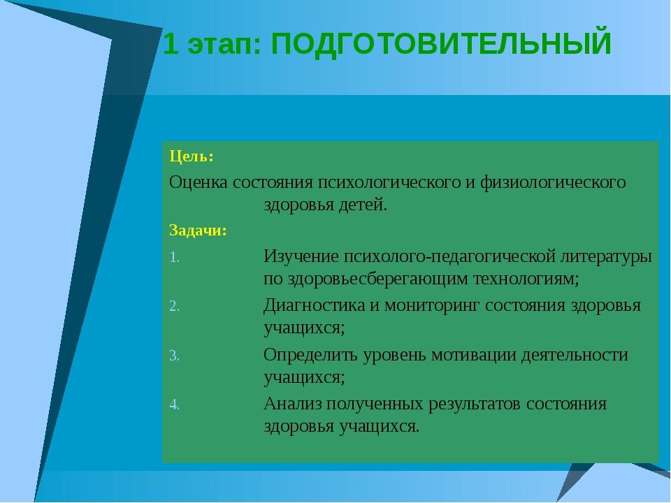 1 этап: ПОДГОТОВИТЕЛЬНЫЙ Цель: Оценка состояния психологического и физиологич...