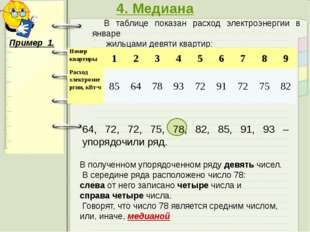4. Медиана В таблице показан расход электроэнергии в январе жильцами девяти