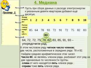 4. Медиана Пример 2. Пусть при сборе данных о расходе электроэнергии к указа