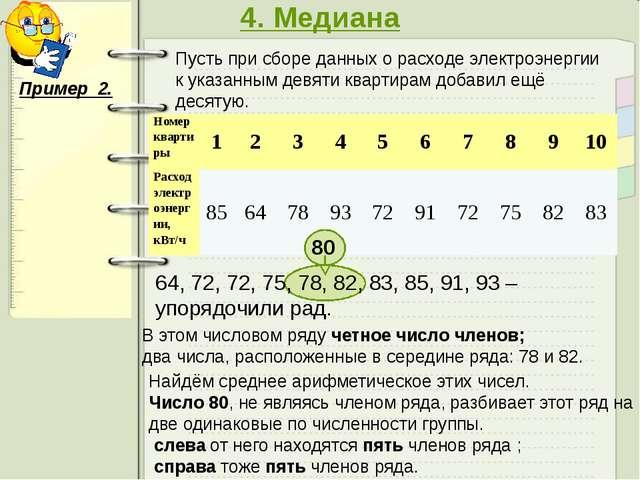 4. Медиана Пример 2. Пусть при сборе данных о расходе электроэнергии к указа...